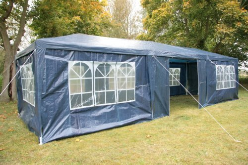 Airwave 3m x 9m Gazebo Party Tent Marquee Awning BLUE with Side Panels. 120g WATERPROOF Canopy and Powder Coated Steel Frame.