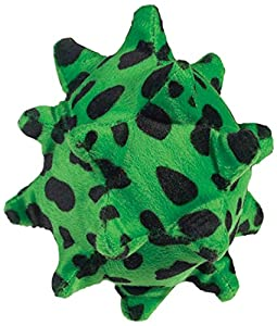 Zanies 5-Inch Plush Squawking Nubby Ball Dog Toy, Green Spotted