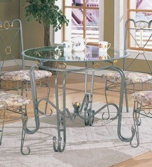 XO Style 40″ Round Metal Dining Table w/Glass Top (VF_F2018)