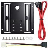 Zacro HDD/SSD用サイズ変換ブラケット(2.5インチ→3.5インチ) 下L型シリアルATA3ケーブル ネジ セット SSD/HDD変換マウンタ ランキングお取り寄せ