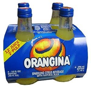 Orangina Sparkling Citrus Beverage with Pulp - 4 Glass Bottles - (Pack of 2))