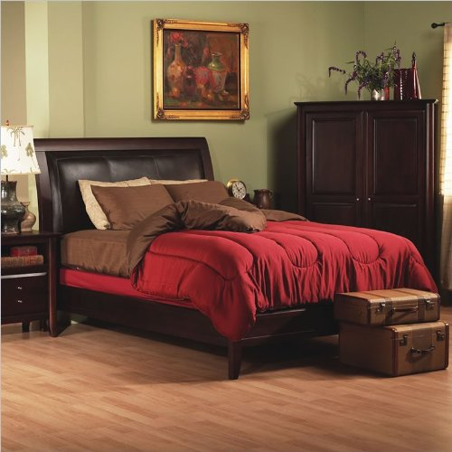 upholstered leather sleigh bed. Queen Modus City Leather Upholstered Low Profile Sleigh Bed In Russet Finish Review