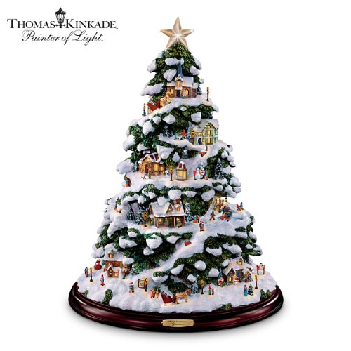 Thomas Kinkade Village Christmas Artificial Tabletop Christmas Tree by The Bradford Exchange