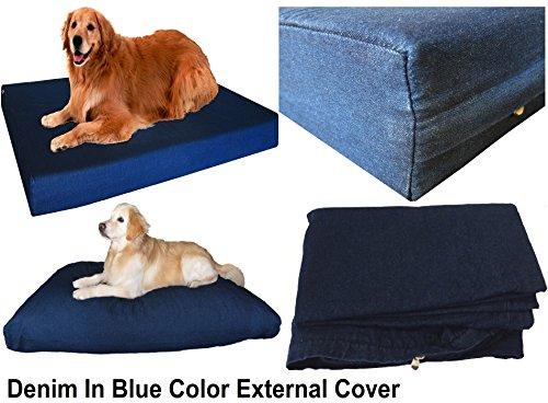 heavy duty navy blue denim jean dog pet bed