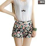 Imixcity Womens Floral Elastic High Waist Pants Shorts Mini Trouser Short Pants