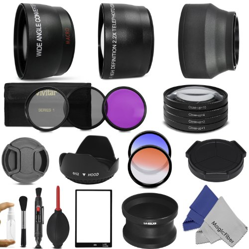 52MM Essential Accessory Kit for PANASONIC LUMIX DMC-LX5 LEICA D-Lux 5 – Includes: 0.45x Wide Angle & 2x Telephoto High Definition Lenses + Lens Adapter Tube + Auto Lens Cap + LCD Screen Protector + Vivitar Filter Kit (UV, CPL, FLD) + Vivitar Macro Close-Up Set + 2 Color Filters + Rubber Lens Hood + Center Pinch Lens Cap + Deluxe Cleaning Kit w/ Lens Cleaning Pen + Premium MagicFiber Microfiber Cleaning Cloths