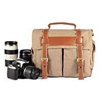 Kattee Fashion PU Leather Canvas DSLR Camera Shoulder Bag for Canon Nikon, etc