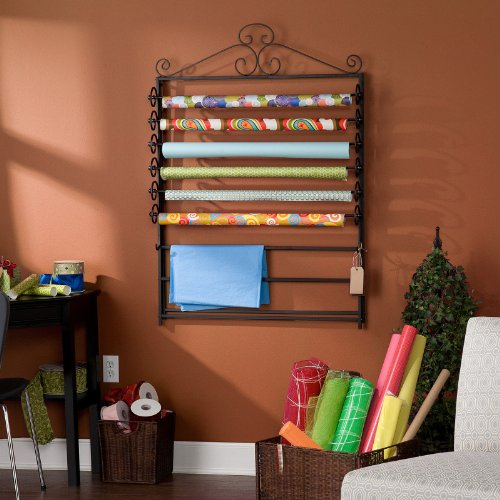 This Is A Black Gift Wrapping Paper And Craft Storage Rack! It'S Highlighted With This Wrapping Paper Organizer! Craft Storage Is A Great Work Design! In Addition, These Storage Rack Is Designed To Converts To A Wall Mount To Fit Your Wrapping Needs! front-462160