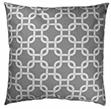 JinStyles Cotton Canvas Trellis Chain Accent Decorative Throw Pillow Cover (Grey & White, Square, 1 Cover for 18 x 18 Inserts)
