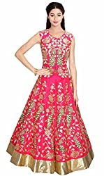 Pink and Green Peacock Embroidered Lehenga set by Kmozi