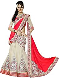 Net Patch Work Unstiched Party Wear Lehenga Choli (L16-2_Red)