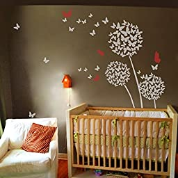 MairGwall Dandelion Wall Decal Flower Sticker Nursery Floral Wall Mural Girl Room Vinyl ( X-Large,Dandelion - White;Four butterflies - Tomato Red )