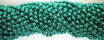 33 inch 07mm Round Metallic Green Mardi Gras Beads - 6 Dozen (72 necklaces) by Mardi Gras Spot