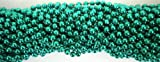 33 inch 07mm Round Metallic Green Mardi Gras Beads - 6 Dozen (72 necklaces)
