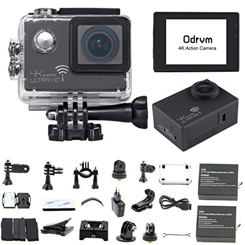 WIFI Sports Camera 4K 2.0-Inch Waterproof Action Camera Black Diving 30M 170 Degree Wide Angle Under Water Camera With 2PCS Battery for Biking, Racing, Skiing, Motocross And Water Sports