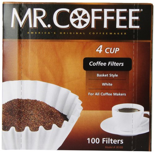 Mr. Coffee Basket Coffee Filters, 4 Cup, White Paper, 100-Count Boxes (Pack of 12) Home Garden ...