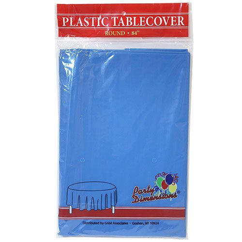 Party Dimensions Single Count Round Plastic Tablecover, 84-Inch, Medium Blue