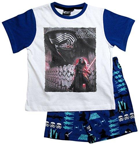 Star Wars Pyjama Kollektion 2016 Shortie 104 110 116 122 128 134 140 146 Shorty Kurz Schlafanzug Stormtrooper Weiß-Blau (116 - 122, Weiß-Blau)