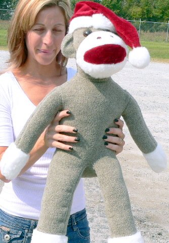 Big Plush Monkey Wears Santa Hat
