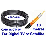 10m Low Loss Webro black WF100 Digital Satellite Coax with 10 free cable clipsby The One Stop Sat Shop �