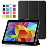 MoKo Samsung Galaxy Tab 4 10.1 Case - Ultra Slim Lightweight Smart-shell Stand Case for Samsung Galaxy Tab4 10.1 Inch Tablet, BLACK (With Smart Cover Auto Wake / Sleep. WILL NOT Fit Samsung Galaxy Tab 3 10.1)