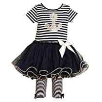Baby-Girls Bonnie Baby Sparkling Sequin Anchor Sailor Tutu Dress Set