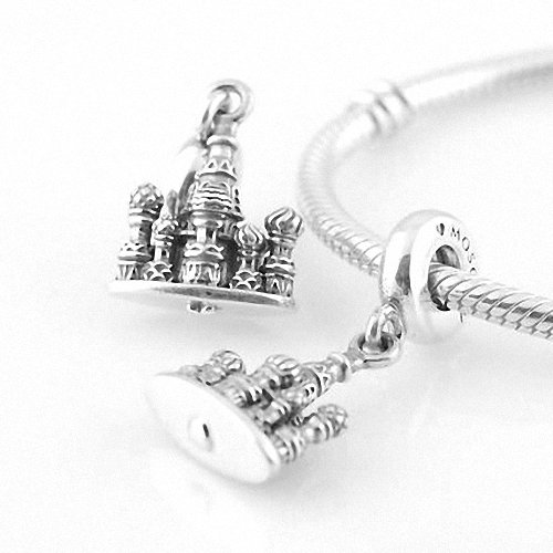 Taotaohas-(1Pc) Oxidized Antique Authentic 100% Solid Sterling 925 Silver Threaded Charm Beads Dangle, [ Name: St. Basil'S Cathedral ], Fit European Bracelets Necklaces Chains, Troll, Biagi Glass Charm Beads