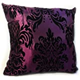 """FLOCK DAMASK CUSHION COVERS IN 9 LOVELY COLOURS 18""""X 18"""" (PURPLE)"""