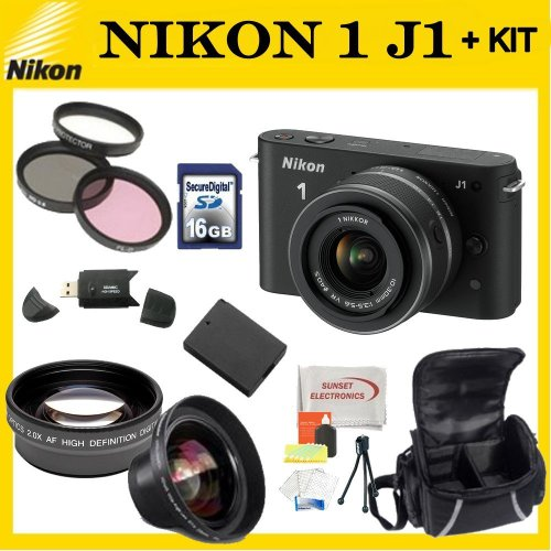 Nikon 1 J1 Mirrorless Digital Camera Kit with 10-30 mm VR Zoom Lens (Black)