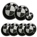 Afauto 7pcs BMW Black/Silver Carbon Fiber Style Emblem Logo Badge Set 73/82mm