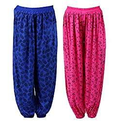 NumBrave Printed Viscose Pink & Blue Harem Pants (Pack of 2)