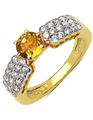 2.50 Grams Citrine & White Cubic Zirconia Gold Plated Brass Ring
