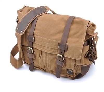 ZeleToile KB-03 Pro Unisex Retro Canvas Shoulder Bag Messenger Bag Cross Body Bag Casual Leisure Bags for Laptop / Travelling / Hiking / Camping /Military /Outdoor Sports - Leather, Canvas, Cotton, Size: 38CM × 32CM × 14CM- Excellent Workmanship - Coffe