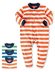 3 Pack Pure Cotton Striped Sleepsuits