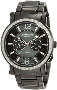 Akribos XXIV Men's Stainless Steel Swiss Diamond Watch (Black Stainless Steel)
