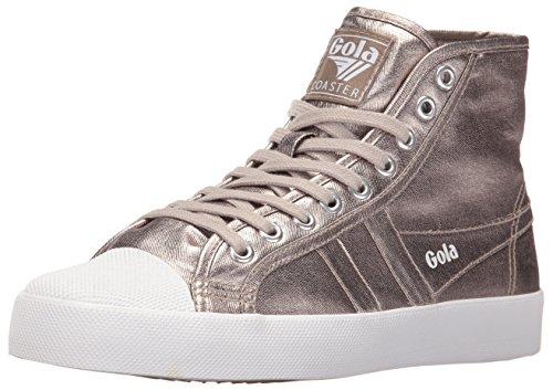 Gola Women's Coaster Metallic High Fashion Sneaker, Pewter/Pewter, 8 M US