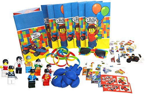 Lego-Themed Party Favors by Pixel Party Designs, Super Fun 8-Packs of Bags, Stickers, Wristbands, Balloons, Temporary Tattoos, Mini Figures, FREE Brick Sunglasses for Birthday Kid (Ninja Coloring Book Party Favors compare prices)