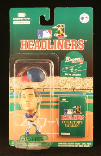 1996 - Corinthian - MLB - Headliners - David Justice - Atlanta Braves - Vintage 3 Inch Baseball Figure w/ Cap - Includes Collector's Catalog - OOP - Limited Edition - Collectible