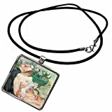 3dRose BLN Impressionist Fine Art Collection - The Cup of Tea by Mary Cassatt - Necklace With Rectangle Pendant (ncl_127315_1)