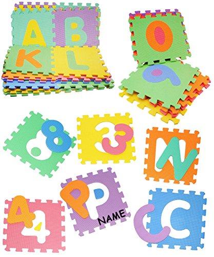 XL Set: Puzzle Teppich aus Mossgummi - 36 Matten & Buchstaben incl. Name - ABC A-Z & Zahlen 0-9 - zum puzzeln / Puzzleteppich EVA - Spieleteppich Puzzlematte - Spielmatte Kinderteppich - Bodenmatte - Matte / Spielteppich - für Kinder - Puzzleteppich - Kinderspielteppich / Lernteppich - Schaumstoff / Bodenschutzmatte - Alphabet / Buchstabe lesen lernen