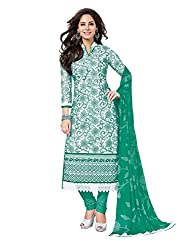 PShopee Green Karachi Designer Cotton Embroidery Unstitched Salwar Suit Dress Material