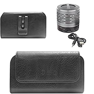 DMG Premium PU Leather Cell Phone Pouch Carrying Case with Belt Clip Holster for Sony Xperia SP (Black) + Wireless Bluetooth Speaker with Party LED Lights