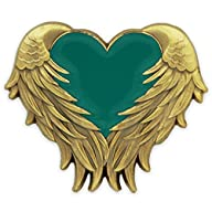 Teal Heart With Wings Pin – Antique Gold