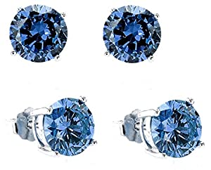 Sterling Silver.925 Sapphire Color Cubic Zirconia Stud Earrings 2.00c.t.w