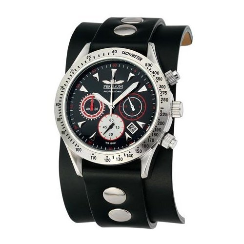 Perigaum Men's Professional Diver Chronograph with IP Plating Watch - Black Dial - P0701-SS