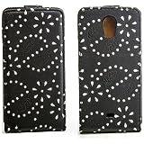 Luxus Flipcase Handy Tasche f�r Sony Xperia T / LT30p Mint Schwarz Glitzer Bling Schutz H�lle Etui Bag Cover Flip Style Case Leder Klapptasche NEU