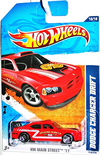 2011 Hot Wheels [Red Watkins Glen Fire Department] DODGE CHARGER DRIFT CAR #170/244, HW Main Street #10/10, 1:64 scale - 1