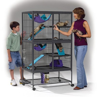 """Midwest Ferret Nation Double Unit With Stand Ferret Cage, 36"""" L X 25"""" W X 62.5"""" H front-18162"""