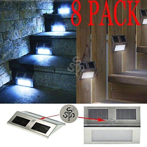 Cozyswan® New Energy Saving Solar Powered Solar Dock Light Stainless Steel Staircase Led Solar Step Lights (Pack Of 8)