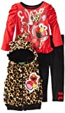 "Sesame Street Elmo ""Cheetah"" Red Toddler Fleece Vest, Top & Leggings Set (4T)"